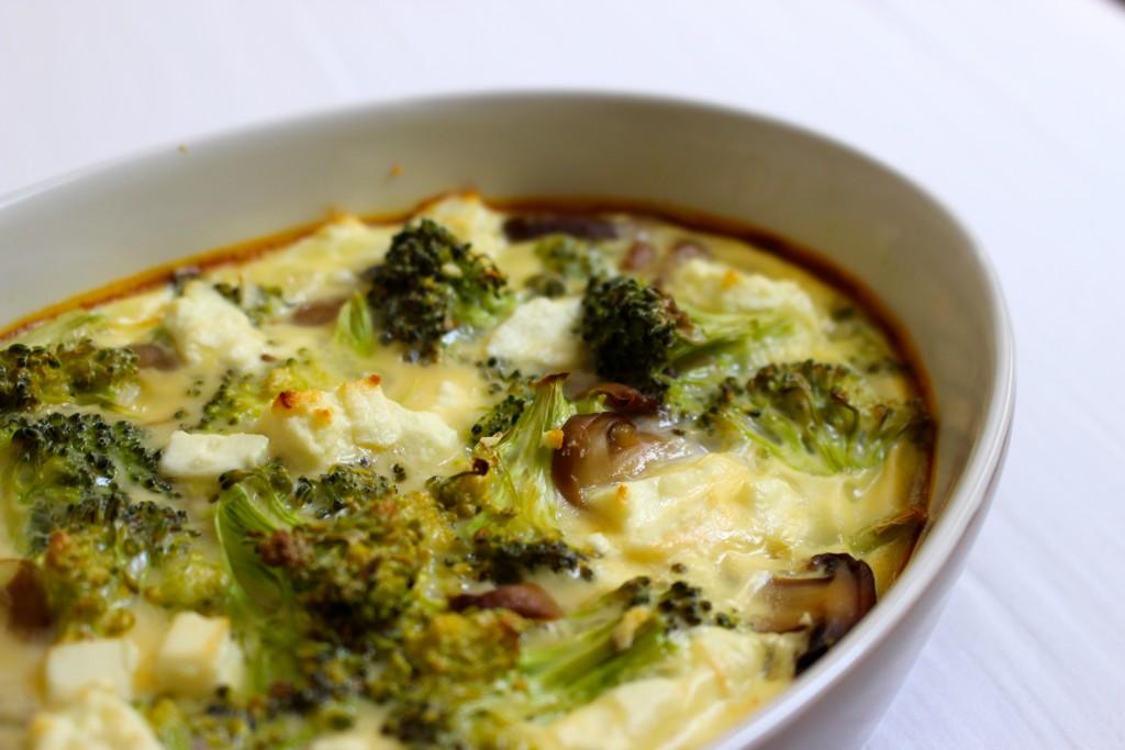 Flan brocolis, champignons, feta