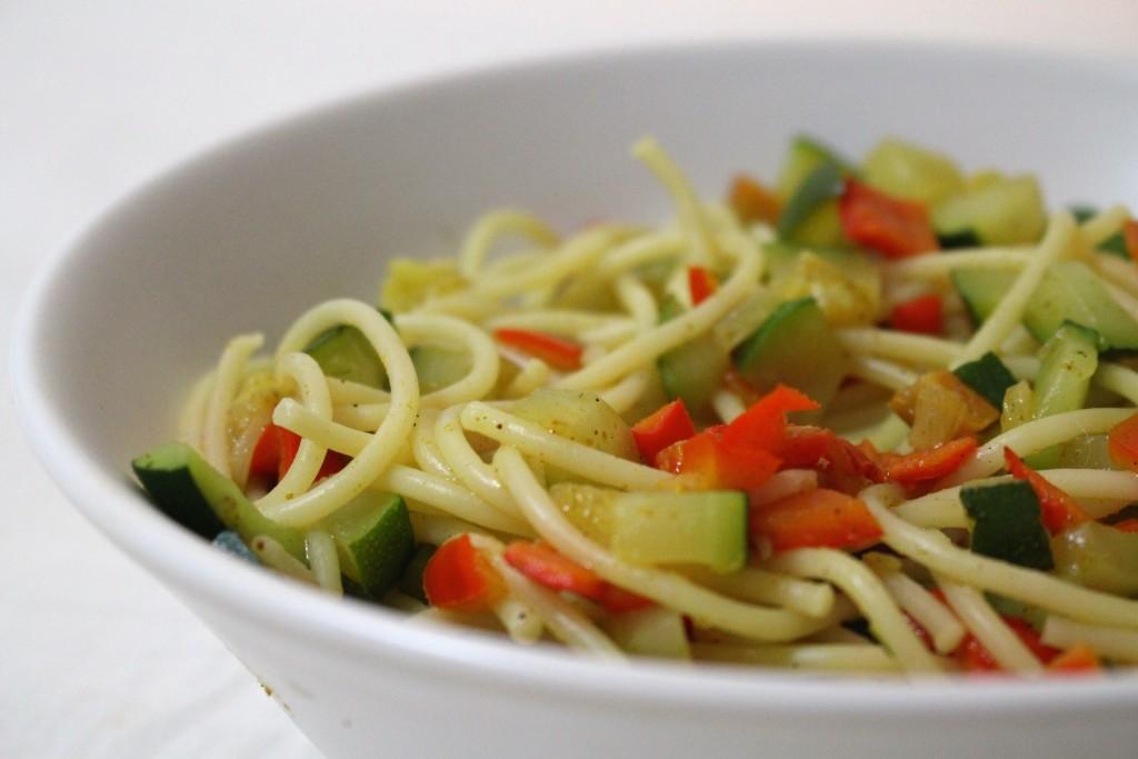 Spaghettis aux petits légumes
