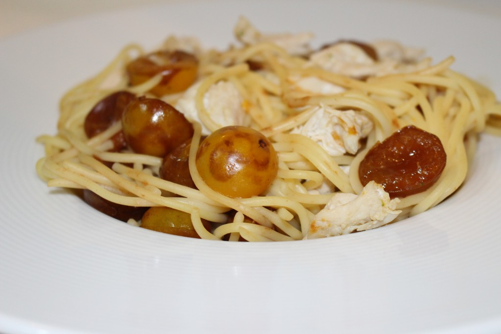 Spaghettis poulet et mirabelles