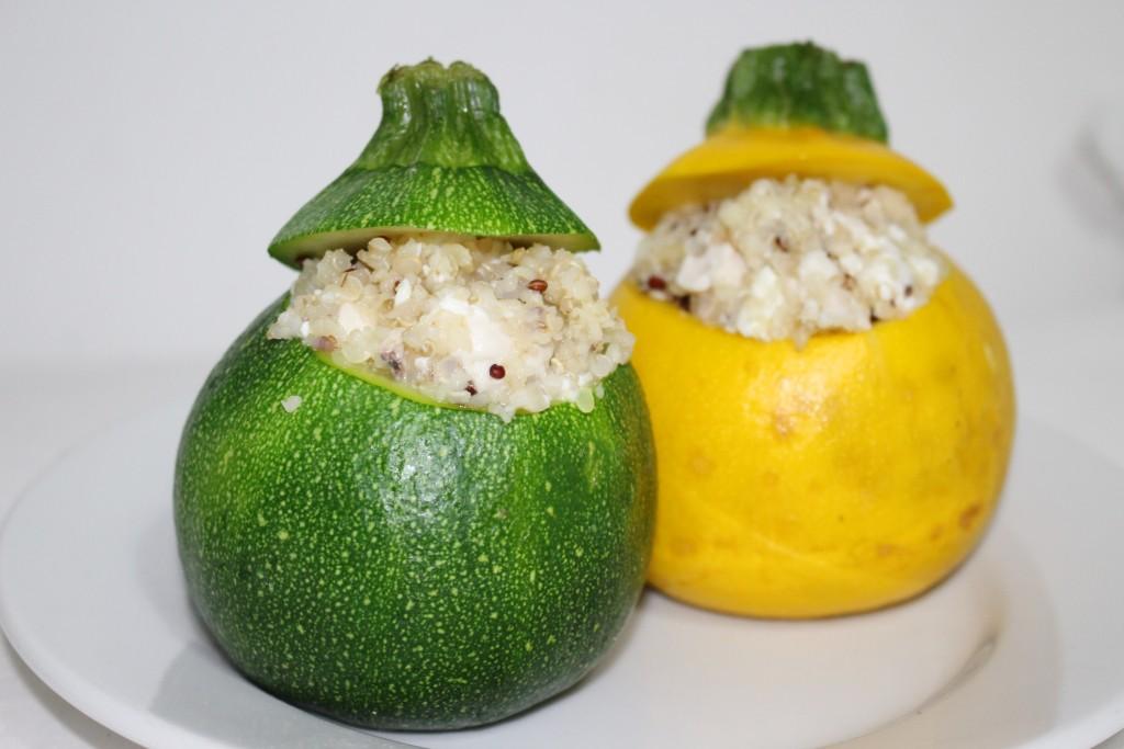 Courgettes farcies quinoa, poulet et feta