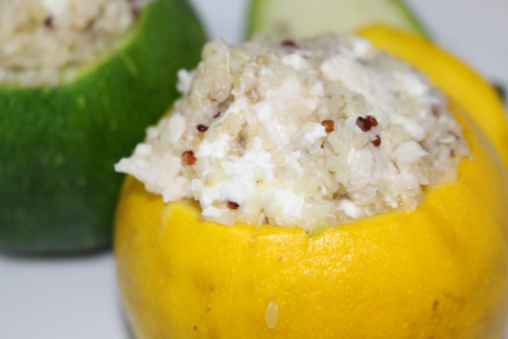 Courgette ronde quinoa, poulet et feta