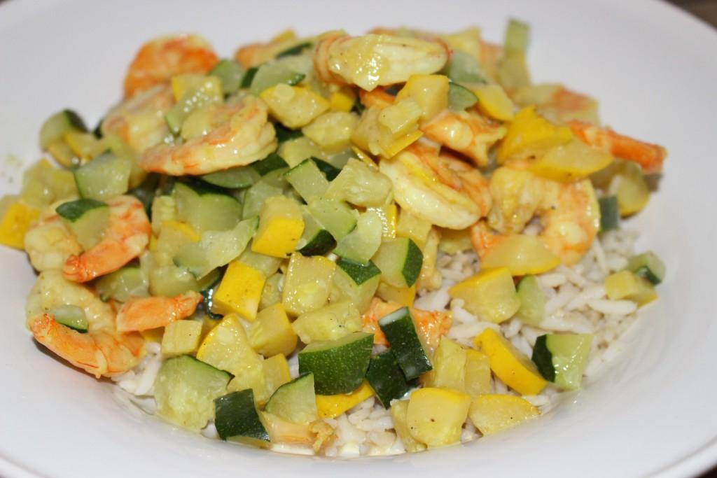 Curry de crevettes aux courgettes