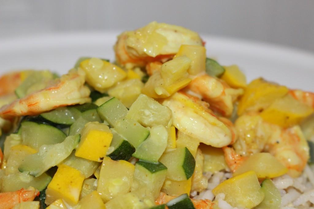 Curry crevettes et courgettes