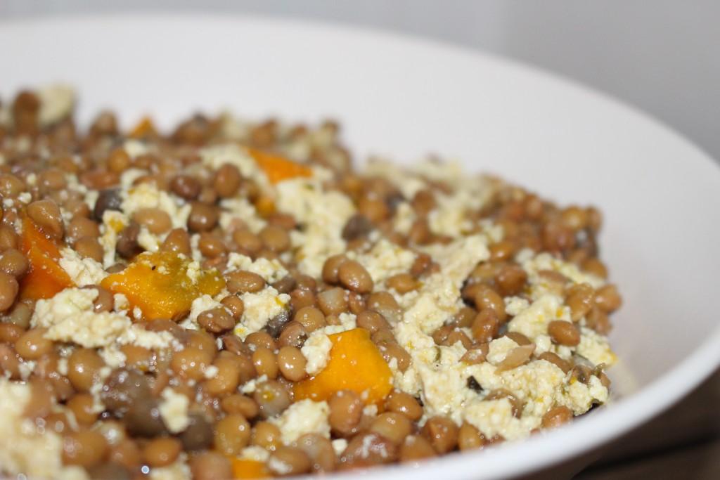 Lentilles, potimarron et tofu