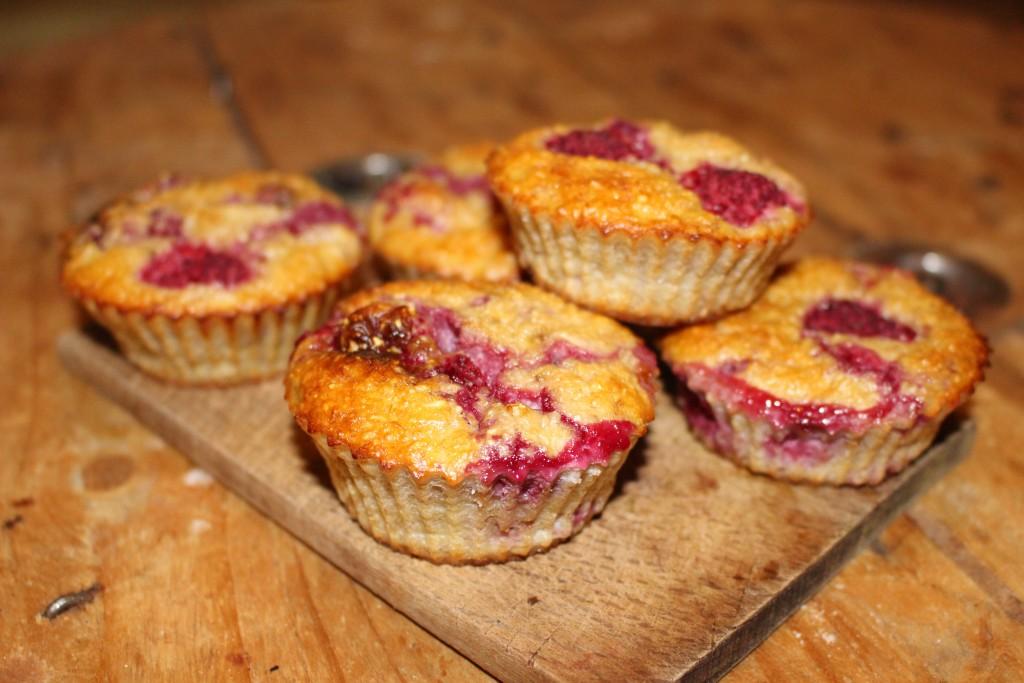 Muffins banane et framboises sans sucre