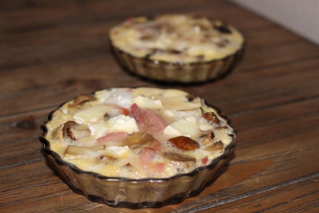 Flan bacon, champignons et chèvre allégé