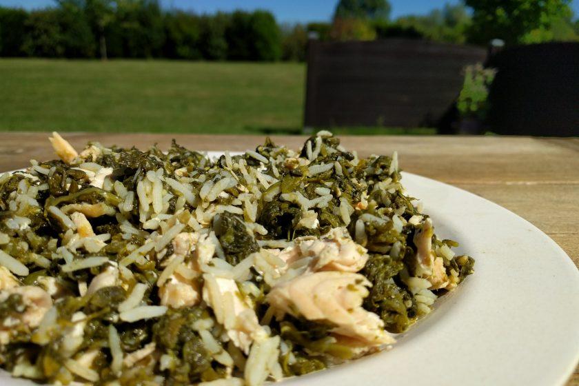 Riz, saumon et épinards